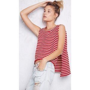 Free People Red Madness Striped Muscle Tank M